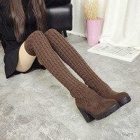 2017 Fashion Knitted Women Knee High Boots Elastic Slim Autumn Winter Warm Long Thigh High Boots