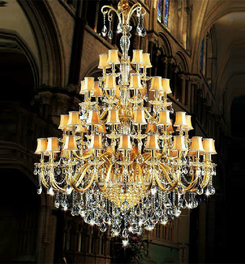 Amazing Arms Church Large Led Chandeliers Res De Cristal Hotel Long Gold Champagne Crystal Chandelier Lamp Shade Fixture With