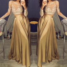Beautiful Lace Long Sleeve Gold Two Piece Prom Dresses 2019 Satin Cheap Gowns Sheer Golden Party Zipper Back