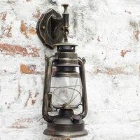 Retro Classic Kerosene Lantern antique Wall lights wrought iron vintage Industrial red/yellow/Black bronze wall lamp