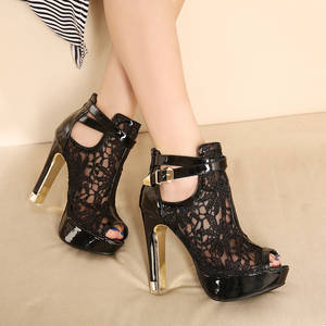 c9404281d XingDeng High Heels White Lace Ladies Peep Toe Shoes Women