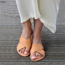 купить Olomm New Women Summer Gladiator Slippers Outside Slippers Open Toe Ladies Yellow Black Beach Shoes Women US Plus Size 5-10.5 по цене 1826.77 рублей