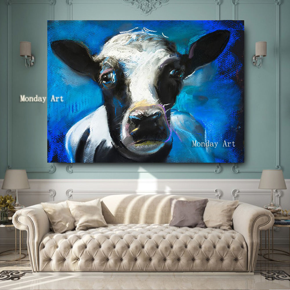 1 Piece handmade Lovely Cow Face Canvas Oil Waterproof Painting For Living Room Large artwork painting for farmhouse home decor in Painting Calligraphy from Home Garden