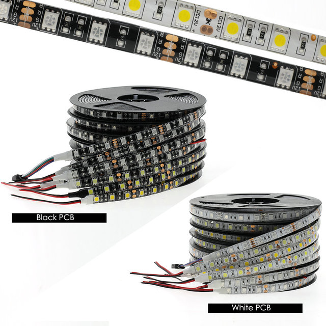 Czarny PCB taśmy LED 5050 DC12V wodoodporne elastyczne Led taśma oświetlająca 60LED/M biały/ciepły biały/czerwony/ zielony/niebieski/RGB LED pasek światła.