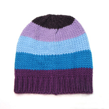 Knitted Winter Hat For Women Cute Warm Beanies Patchwork Mixed Colorful Striped Wool Blended Yarn High Quality Female Hat Cap