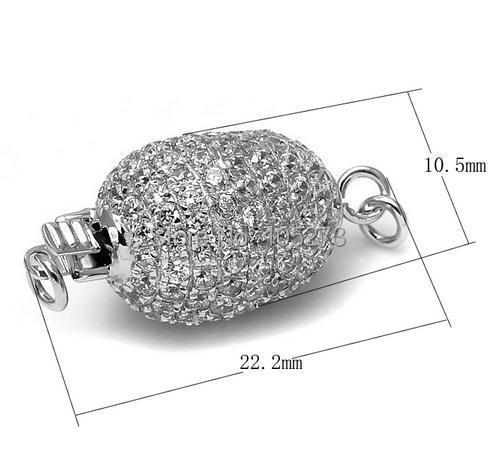 Avec fermoir en zirconium, 22x10mm 925 argent bricolage collier en cristal de perle naturelle de haute qualité, fermoir bracelet. -L60