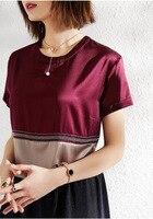 PIXY 100% тяжелый шелк футболка лето пятно дамы топы корректирующие роскошные женские костюмы короткий рукав Харадзюку Бургундия Повседневный