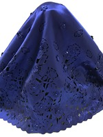 Royal Blue Laser Cut Lace Fabric With Beads 3D Flowers Laser Cut High Quality Nigerian Lace