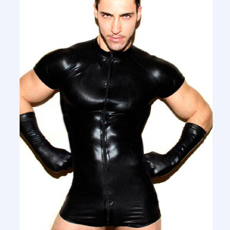 Body Suits Men Costume Sexy Gay Faux Leather Lingerie Clothing Latex Body Suits -2736
