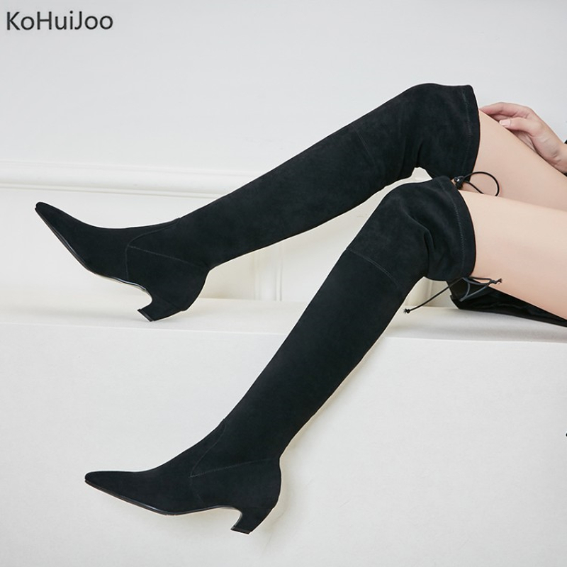 KoHuiJoo Thigh High Over The Knee Boots Lace Up 4.5 High Heels Black Lhaki Boots Women Solid Stretch Fabric Ladies Winter Boots vallkin 2018 lace up women boots rhinestone square high heel over the knee boots stretch fabric wedding ladies boots size 34 43