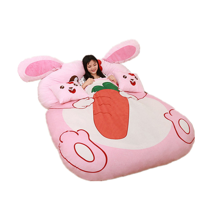 Fancytrader Cartoon Animal Rabbit Tatami Giant Stuffed Soft Beanbag Bed Carpet Mat Sofa Pink