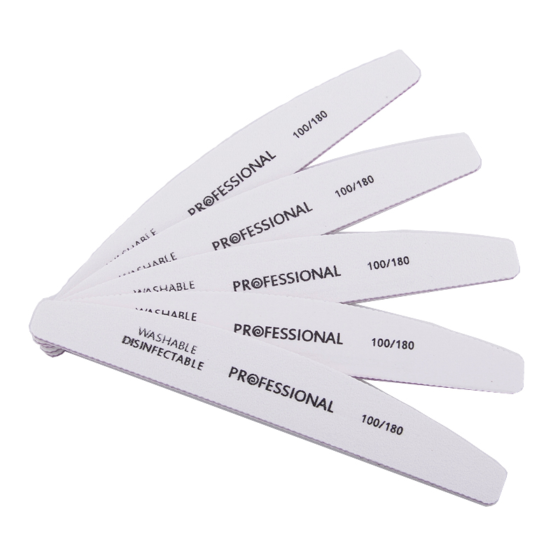 Image 3 - Professional 50pcs/lot White Nail File Sandpaper 100/180 Grits Half Moon Sanding Buffer Blocks Cuticle Remover Nail Beauty Tools-in Nail Files & Buffers from Beauty & Health