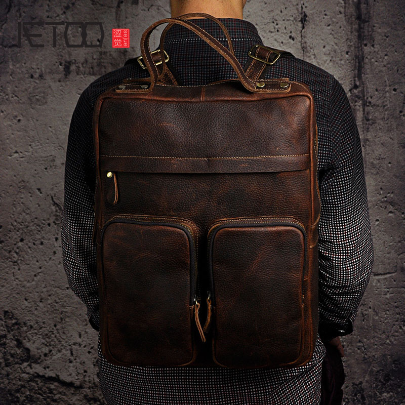 AETOO Crazy horse leather leather foreign trade men and women in Europe and America large capacity 15-inch backpack computer bag плед yan lin in foreign trade vs