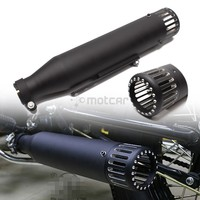 Motorcycle Black Iron Cafe Racer Exhaust Pipe With Sliding Bracket Universal Fit Honda Yamaha Kawasaki Harley Suzuki