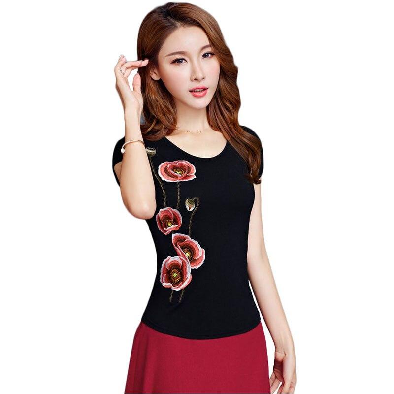 Tshirt Plus Size 5XL Tops Vintage Camisetas Mujer Summer Top Tee Shirt Femmet Shirt Women Harajuku Camisa Feminina Embroidery