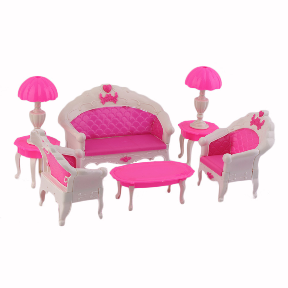 cartoon sofa chair. Kids Toys 6Pcs Princess Furniture Set Cute Cartoon Dolls Accessories Doll Vintage Sofa Chair Couch Desk Lamp Disassembly-in Houses From \u0026 Hobbies R