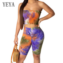 YEYA Two Pieces Sexy Prints Wrapped Chest Top+skinny Short Pants Elegant Vintage Off Shoulder Sleeveless Women Bodycon Jumpsuits