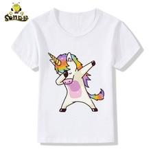 Hot sale children Dabbing unicorn Kawaii funny t-shirt printing boy and girl summer T-shirts short sleeve Casual Tops