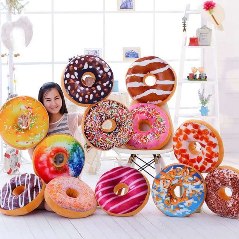 40cm 3D Doughnut Pillow Chair Cushion Donut Coussin Decorative Cushions Sofa Cushion Throw Pillows Plush Doll Seat Pillow
