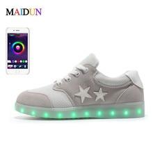 Size 35-46 APP Control LED Luminous Shoes For Men Fashion Light Up Led Shoes Unisex White /Black low Top Casual Growing Shoes