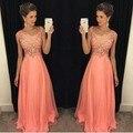 Robe De Soirée 2016 Una Línea de Cuello En V Vestido de Peach Color Gasa Palabra de Longitud Más del Tamaño Vestidos de Noche Largos Con cuentas