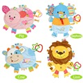 Educational Baby toys 0-12 Months Bebek Oyuncak Plush Cartoon Pig Lion Elephant Baby Bibs Brinquedos Para Bebe Toys For Newborns