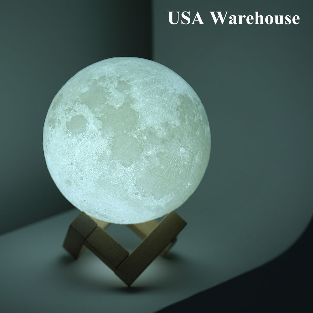 Magical 3D Printed Moon Lamp Night Light 2 Color Change Touch Sensor Rechargeable Moonlight Luminaria Luna Lamp Valentines Gifts