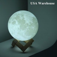 3D Creative Print Moon Lamp Night Light Touch Sensor LED Moonlight Desk Lamp USB Rechargeable Luminaria