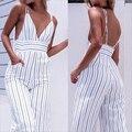 2017 Nuevo mono mujer rayado Clubwear cuello pico Playsuit sin mangas Jumper Bodycon Party Jumpsuit mujer verano Backless Romper