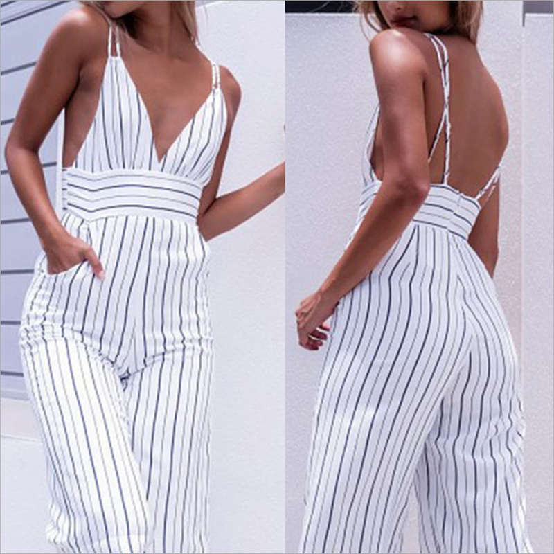 2019 New Jumpsuit Women Striped Clubwear V-Neck Playsuit Sleeveless Jumper Bodycon Party Jumpsuit Female Summer Backless Romper