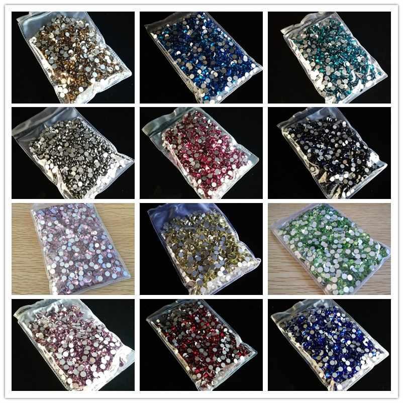أحجار الراين غير الإصلاح الساخن جودة عالية SS3 إلى SS40 جميع الأحجام AB/واضح متعدد الألوان زجاج كريستال الأحجار لتزيين الملابس