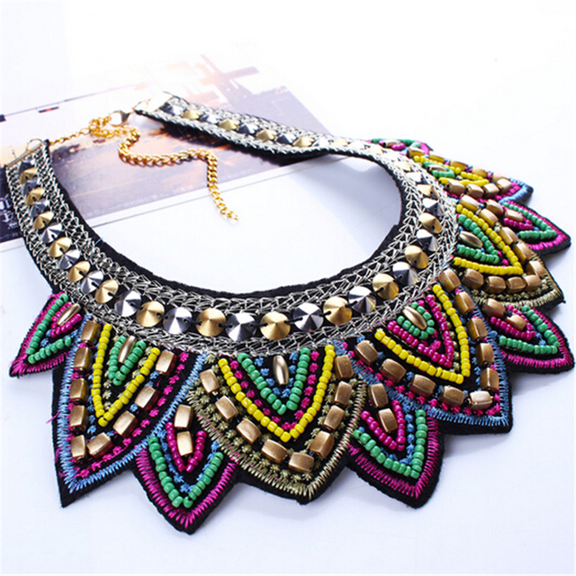 Female vintage choker pendants&necklaces big boho necklaces ethnic bohemian jewelry statement tribal Colorful bijoux femme mujer 2