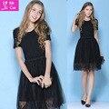 Softfox 2016 mujeres del vestido del verano princesa elegante y cordón de las señoras del vestido de partido de manga corta runway mujeres visten el envío libre