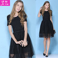 Softfox 2016 summer dress women princess elegant and ladies lace dress short-sleeved party runway women dress free shipping
