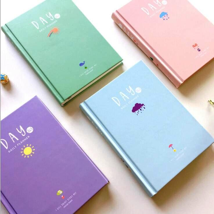 365 Days Planner Agenda Scheduler Planning Papers Cute Hard Cover Yearly Monthly Daily Notebook