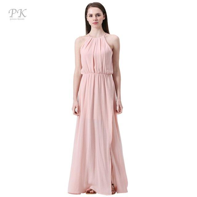 fa904a7e73 PK rosa nude maxi beach party vestidos collar sexy clube vestido importado-china  vestido de
