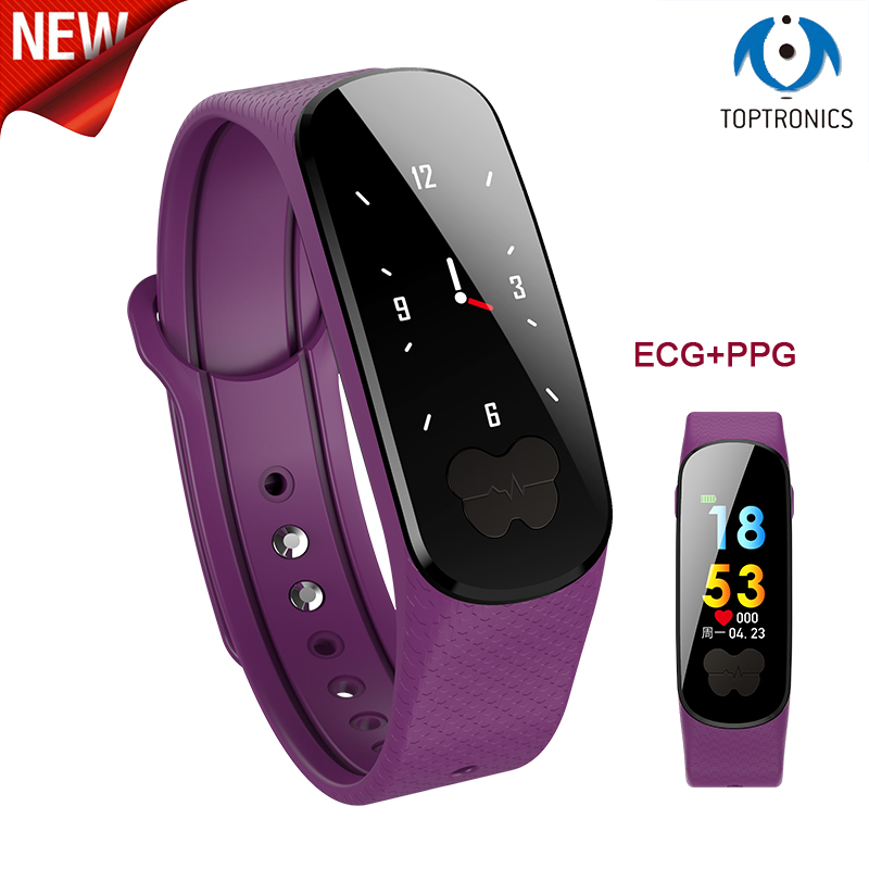 2018 New Smart Bracelet Fitness ECG PPG Pulseira Inteligente RB76 Blood Pressure Tonometers Wristband Pedometer Activity Tracker