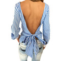 New Fashion Sexy Tops  Long Sleeve tee top Striped Open Back Women Tee shirt Women Clothes Plus size LJ3181E