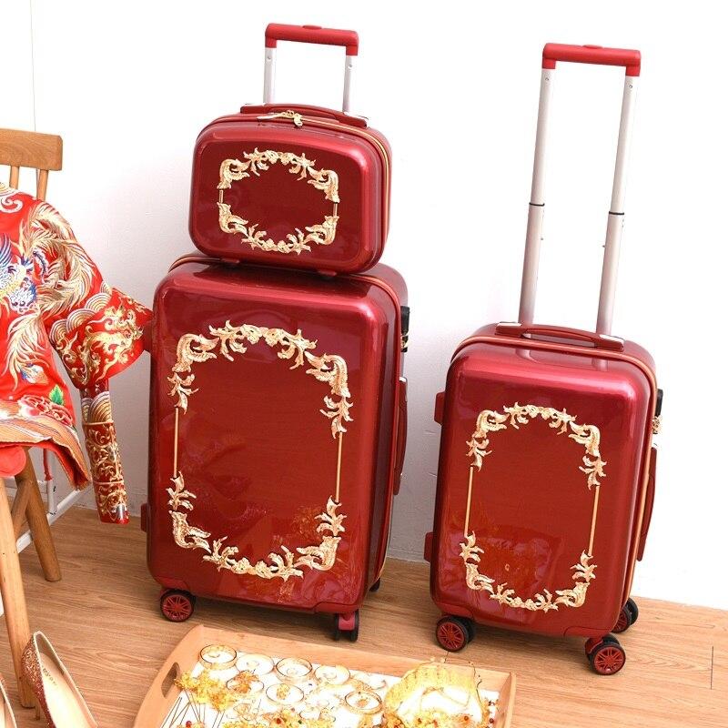 Bagaj ve Çantalar'ten Tekerlekli Bagaj'de Kırmızı nostaljik bavul Tekerlekler Haddeleme Bagaj Seti Retro Arabası Spinner Carry Düğün Seyahat Çantası'da  Grup 1
