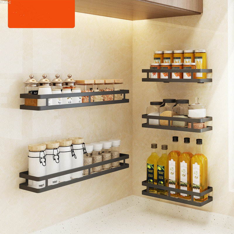 Black Stainless Steel Kitchen Condiment Rack Wall Hanging Punch-free Bathroom Shelf Household Multi-function Storage Rack
