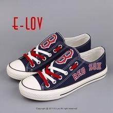 Новая мода Бейсбол Низкий Топ Цвет Кружево повседневная обувь печатных холст обуви Вентиляторы принт Обувь для отдыха граффити Обувь Boston Red Sox