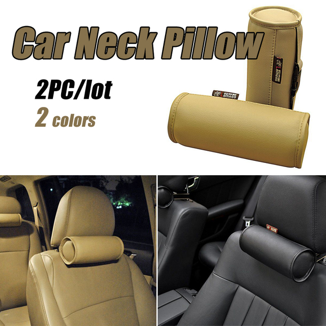 Free Shipping New Arrival,Man-Made Leather Car Headrest,Head Neck Rest Cushion/Pillow,2 Pcs/Set #1097