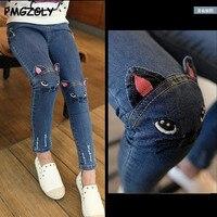 Джинсы для девочек, демисезонная детская одежда повседневные джинсовые штаны, кот образ джинсы для девочек, детские облегающие леггинсы св...