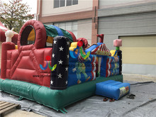 Happy And Colorful Clown Inflatable Funny City For Kid ,Pvc Inflatable Slide For Kids Inflatable Clown Bouncer