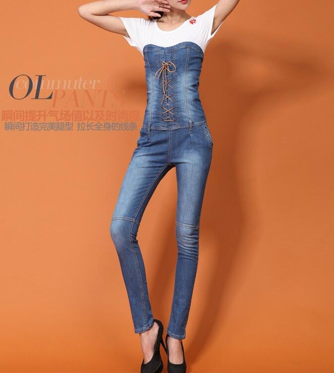 ФОТО spring 2015 Strapless sexy ladies rompers womens jeans jumpsuit slim overall denim bodysuit D3554