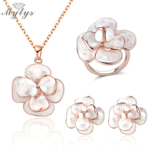 Mytys High Quality Enamel Flower Jewelry Sets Necklace Ring and Earrings Sets For Women E36 CN255