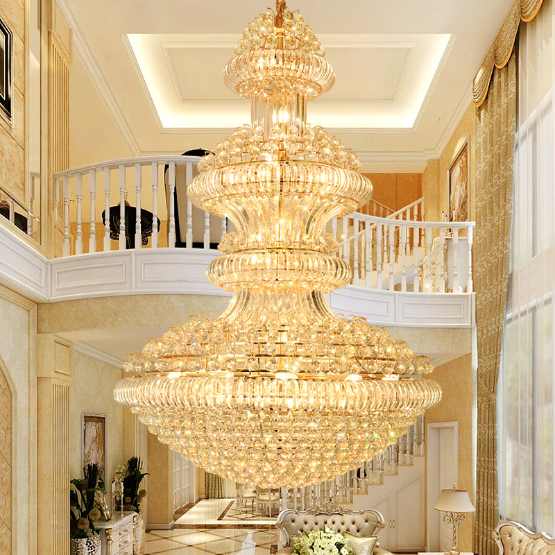 LED Modern Crystal Chandeliers Lighting Fixture American Big Golden Crystal Chandelier Hotel Lobby Hall Home Indoor Lights