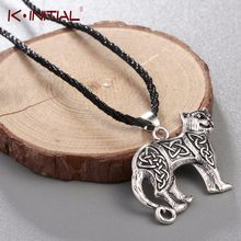 Kinitial Valknut Vikings Amulet Pendant Necklace Irish Knot Animal Cute Cat Necklaces Men Jewelry for Love Gif(China)