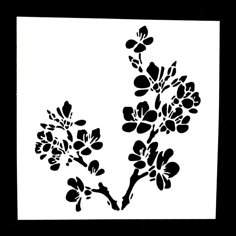 Cherry Blossom Flower Stencil: 1PC Cheery Flower Shaped Reusable Stencil Airbrush