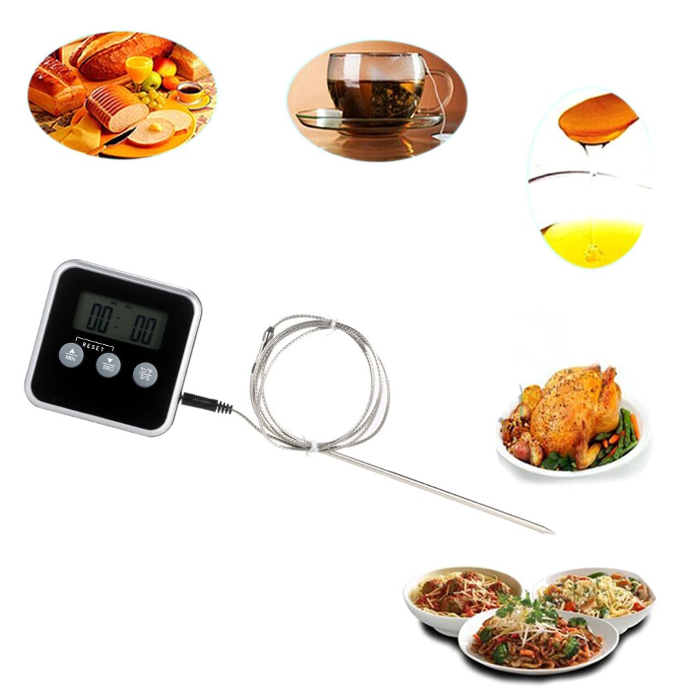 1Pc Digital Display CF Probe Meat Thermometer Kitchen Cooking BBQ Food Thermometer Probe Timer Cooking Probe Meat Thermometer